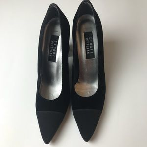 Stuart Weizman Black satin tipped pump